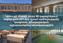 Կոտայքի մարզի շուրջ 90 դպրոցներում ավելի քան 437 մլն դրամ արժողությամբ կապիտալ շինարարական աշխատանքներ կիրականացվեն